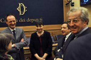 14 gennaio 2016 - Roma, Camera dei Deputati - Salvatore Cimmino con Maria Chiara Carrozza, Federico Fabretti, Laura Coccia e Filippo Tassara